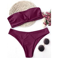 Summer Trending Women Pure Color Strapless Two Piece Bikini Swimsuit Wine Red