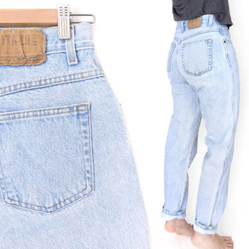 5a6704326199c Sz 8 90s Gitano High Waisted Mom Jeans - Vintage Women s Relaxed Fit  Tapered Light Blue