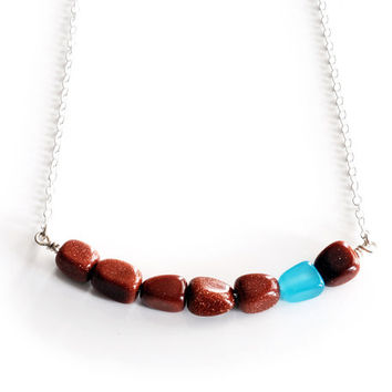 "orange and blue silver horizontal necklace , 29"" long u bar pendant made using sparkly goldstone , turquoise quartz & solid sterling silver"