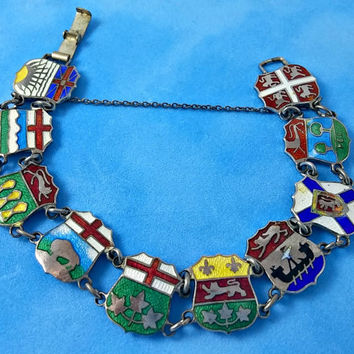 Vintage Shield Charm Bracelet Canadian Sterling Silver Bright Colorful Exquisite Detail Very Rare Find Made In Canada Varying Provinces
