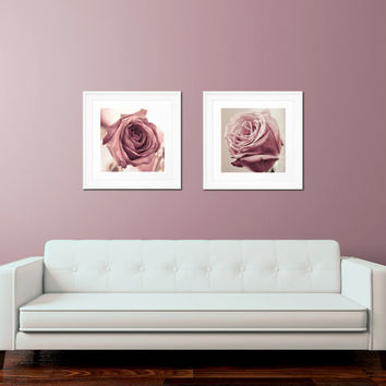 Dusky Rose Photo Set - Flower Photography, Shabby Chic Wall Art, Gifts for Her, Romantic Art, Botanical Print, Pink Home Decor