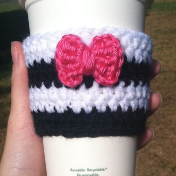 Crochet Little Bow and Stripes Coffee Cozy