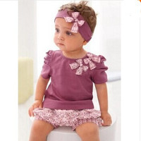 3pc Baby Girl Top Bottom Headband Set
