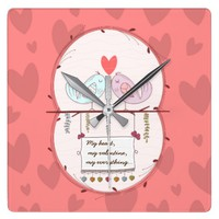 Cute birds in love valentine's day wall clock