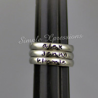 Personalized Stackable Name Ring - Stainless Steel - 3mm Width
