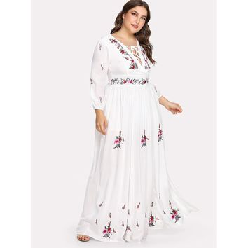 Plus Lace Up Front Flower Embroidered Maxi Dress White