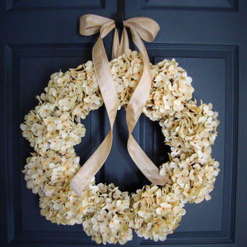 Wedding Wreath - Cream Hydrangea Wreath - Wedding Decoration - Bridal Shower