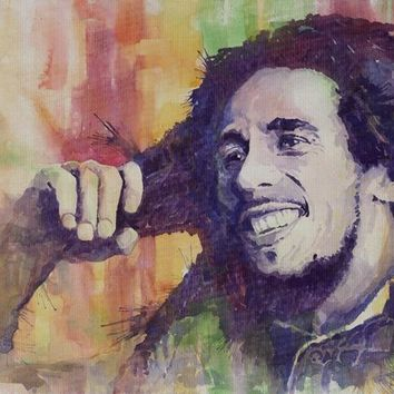portrait canvas painting figure print watercolor masterpiece giant poster prints on canvas Bob Marley singer guitar player