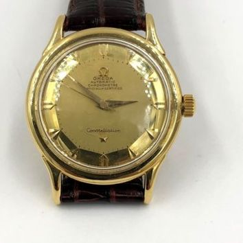 Omega Constellation 18K Yellow Gold Bumper, Mirrored Pie Pan Dial 35mm Watch