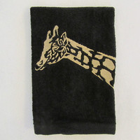 Safari  Giraffe - Fingertip Velour Bathroom Towel - JD Designs