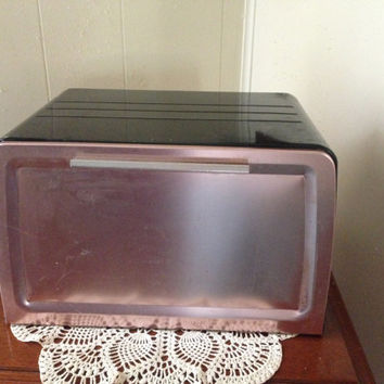 Vintage Black and Pink Westbend Aluminum Breadbox with Shelf