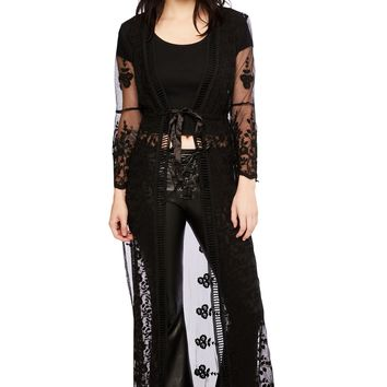 Black Lace Long Kimono Swim Coverup