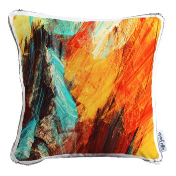 Multi-color Dynamic Abstract Decorative Throw Velvet Pillow w/ Silver & White Reversible Sequins   COVER ONLY (Inserts Sold Separately)