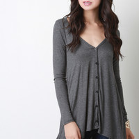 High Low Button Up Ribbed Knit Top