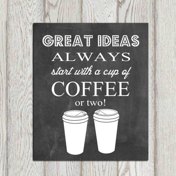 Chalkboard Printable Coffee Print Cup From Dorindaart On Etsy