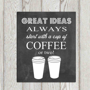 Chalkboard printable Coffee print Cup Great ideas Black white Office decor Kitchen wall art Gift idea Funny quote Poster 5x7, 8x10  DOWNLOAD