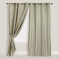 Blue/Taupe Imperial Striped Grommet Curtain | World Market