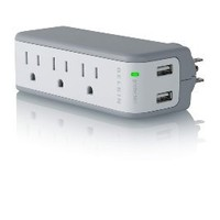 Belkin 3-Outlet Mini Travel Swivel Charger Surge Protector with Dual USB Ports, 5 Charging Outlets Total (1 AMP / 5 Watt)