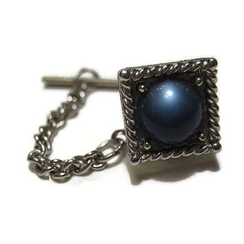 Silver Tone Vintage Swank Blue Faux Cats Eye Tie Tack Pin