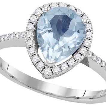 14kt White Gold Womens Pear Aquamarine Solitaire Diamond Teardrop Frame Ring 1-3/8 Cttw 104933