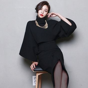 ZAWFL woolen warm women sets pure color high quality fashion slim suits long sleeve round collar shirt package hip skirt