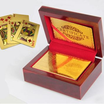 2016 Fashion 24K Karat Gold Plated Poker Playing Card +Nice Wood Box +Certificate