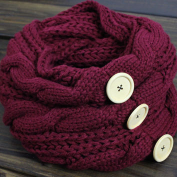 Women's Knit Infinity Scarf, Chunky Knit Scarf, Winter Scarf, Cable Knit Scarf, Oversized Scarf, Infinity Knit Scarf, Knitted Scarves, Scarf