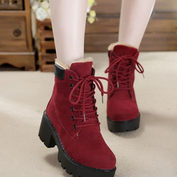 Womens Edgy Cotton Fur Platform Boots