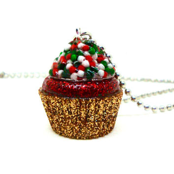 Cupcake Pendant Necklace, Christmas Necklace or Ornament, Cupcake Charm, Christmas Jewelry, Candy Resin Necklace, Christmas Ornament