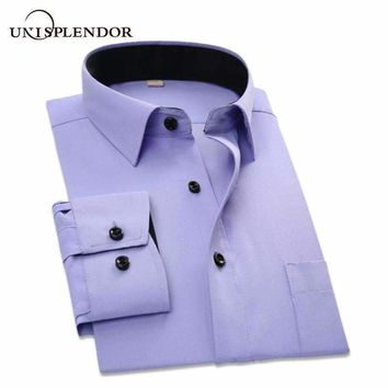 Business Shirts Slim Fit Long Sleeve Overalls Vocational Shirt Men Formal Shirts Work Wear Yn100%5