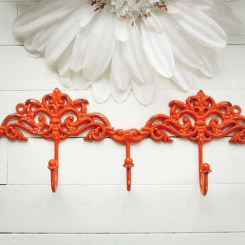 Organize / Wall Hook / French Country Wall Hook / Orange Home Decor / Hook / Key Hanger / Coat Hook / Organization / Home Decor