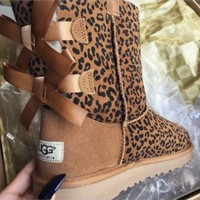 UGG Women Fashion Leopard Bow Leather Wool Snow Boots