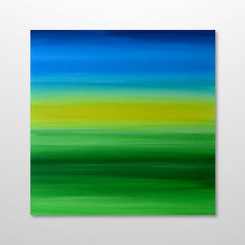Original 24 x 24 Abstract Landscape Painting - Bright Green, Yellow, Blue Field Meadow Acrylic Square Canvas Wall Art Home Decor - FREE SHIP