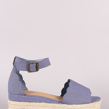 Bamboo Denim Scallop Open Toe Flatform Espadrille Wedge