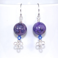 Purple crazy lace agate gem stone drop earring dangle, Sterling silver hook earing, Clover leaf wire wrap blue Swarovski crystal ear ring