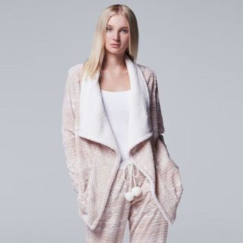CREY7GX Women's Simply Vera Vera Wang Pajamas: Plush Party Fleece Long Sleeve Wrap
