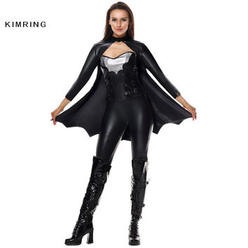 Kimring Sexy Bat Halloween Costume Cosplay Carnival Superhero Costume Sexy Bat Women Warrior Black Costume for Women