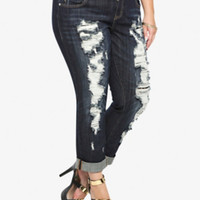 Torrid Premium Boyfriend Jean - Dark Wash with Lace-Back Destruction (Short)
