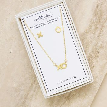 Hugs and Kisses Gold XO Necklace & Earring Stud Boxed Set