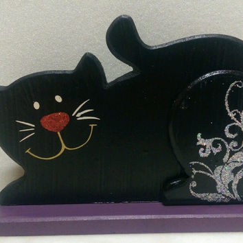 Cat wooden decoration 6.75 x 4.5in Black Hobby Lobby tabletop decor wood New