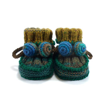 Hand Knitted Baby Booties - Green and Brown, 0 - 3 months