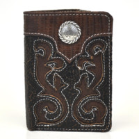Nocona Tri-fold Genuine Leather Exotic Print Western Men's Wallet w/Concho-Brown N5456602