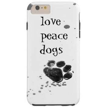 paw print love peace dogs black and white tough iPhone 6 plus case