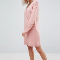 ASOS Chunky Knitted Dress with Wrap Detail at asos.com