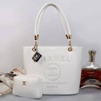 Chenire CHANEL Women Shopping Bag Leather Tote Handbag Shoulder Bag