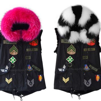 2016 UK style black fur vest with patches big real raccoon fur collar and faux fur lining for women winter fur jackets
