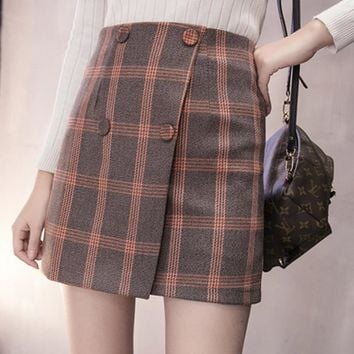 Preppy Wool Plaid Winter Skirt