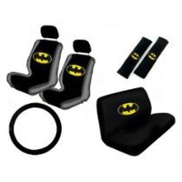 My Associates Store - 11PC Classic Batman Logo Low Back Seat Covers Bench Seat Cover Shoulder Pads Steering Wheel Cover Head Rest Covers Combo Kit