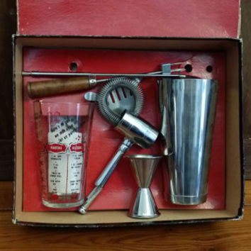 Vintage Mid Century Bar Butler Bar Tool Set Bar Jack and Bar Host Shaker Glass With Drink Recipes Great Christmas Gift
