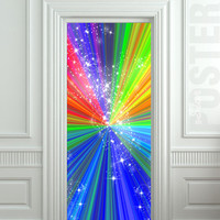"Door STICKER rainbow outer cosmos abstraction space mural decole film self-adhesive poster 30""x79""(77x200 cm)"